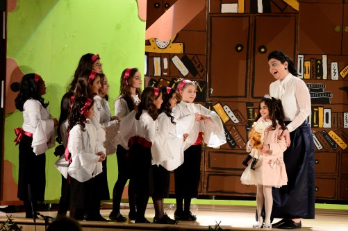 Miss Minchin (Diana Sfeir) welcomes Sara Crewe (Nour Al Huneidi) to her Academy. 'A Little Princess' (March 2015)