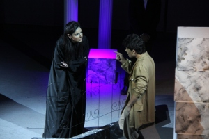 Arabic Antigone (Diana Sfeir) in jail with Jonas (Ali Shalabe)