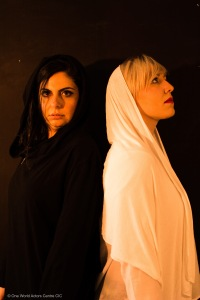 English and Arabic (Eleni Rebecca & Diana Sfeir) prepare for the Edinburgh Fringe Festival